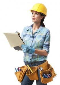 Woman Construction Contractor Carpenter on White
