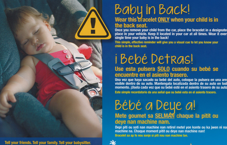 Baby In Back Bracelet Reminder System Prevents Heatstroke By Reminding Parents They Are Transporting Children Safety Council Of Palm Beach County Inc